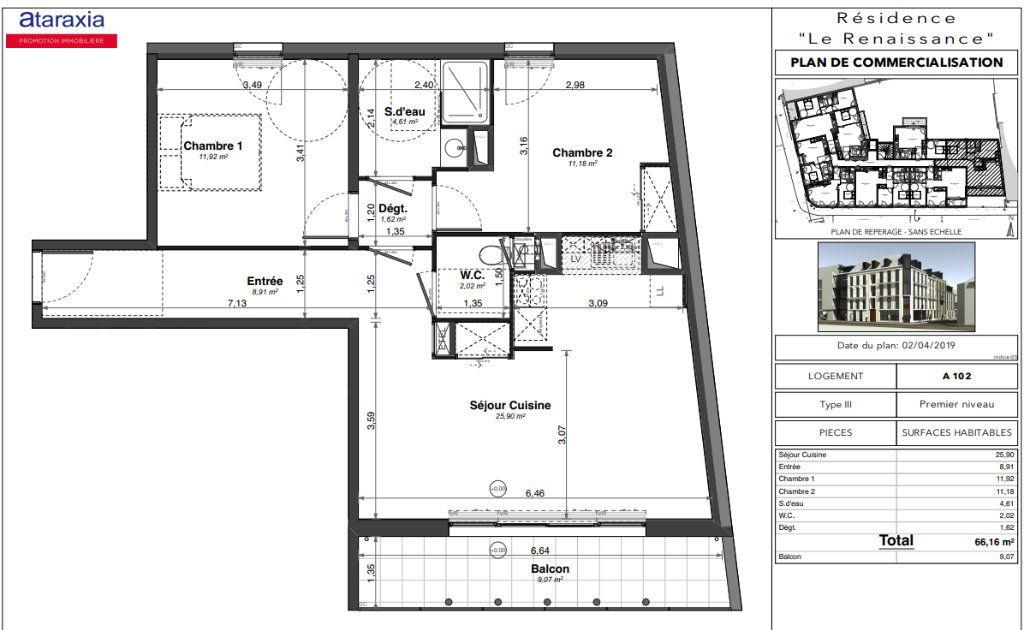 Appartement à louer 3 66.16m2 à Tours vignette-2