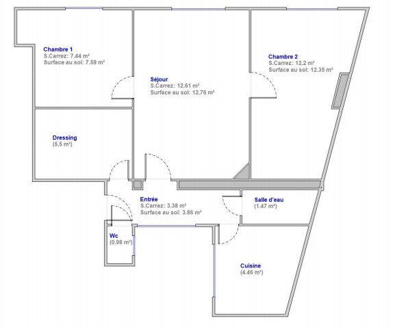 Appartement à vendre 3 49m2 à Paris 17 plan-1