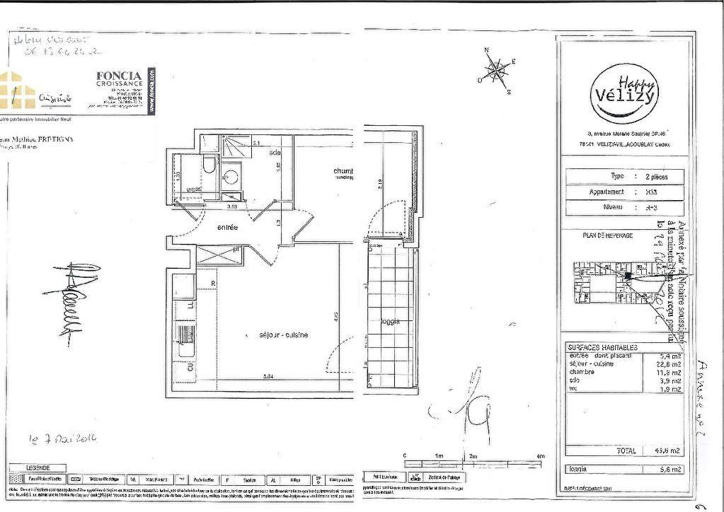 Appartement à vendre 2 45.6m2 à Vélizy-Villacoublay plan-1