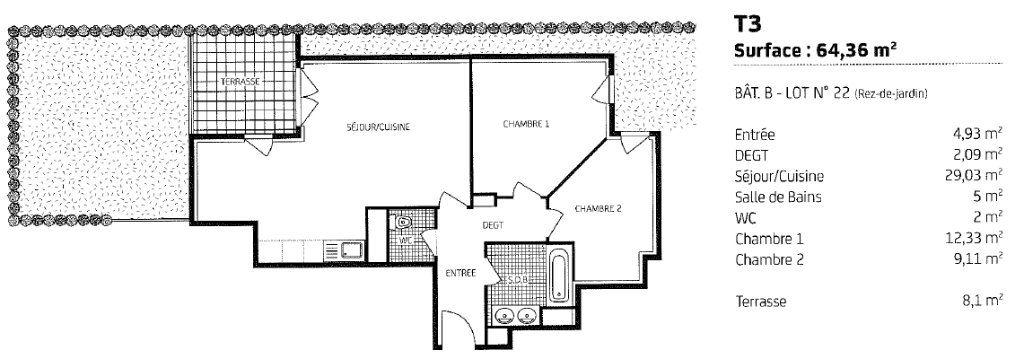 Appartement à louer 3 64m2 à Fondettes plan-1