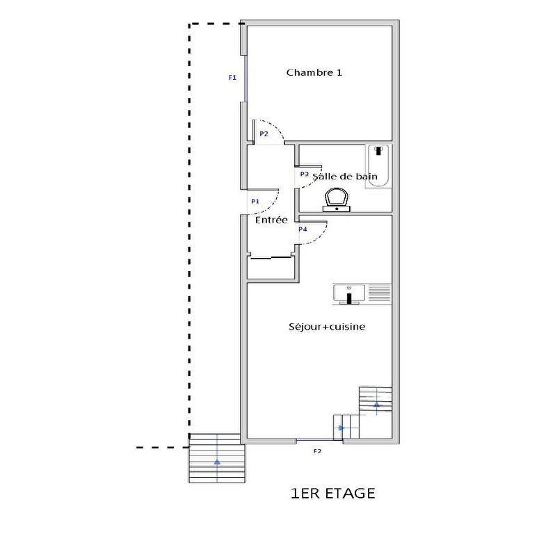 Appartement à louer 3 50m2 à Bléré plan-1