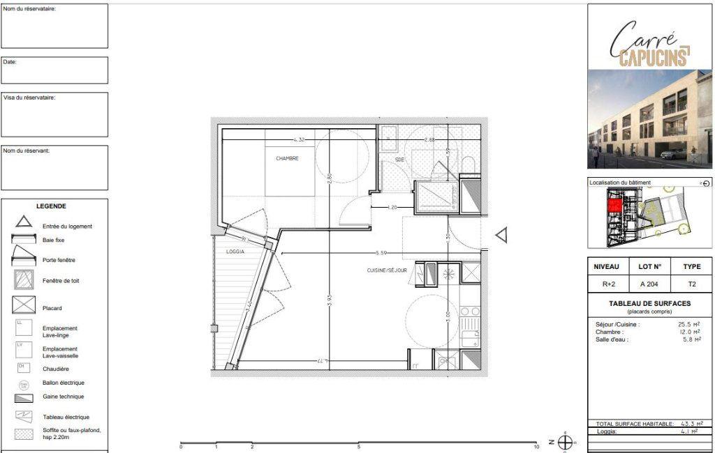 Appartement à vendre 2 43.4m2 à Bordeaux vignette-3