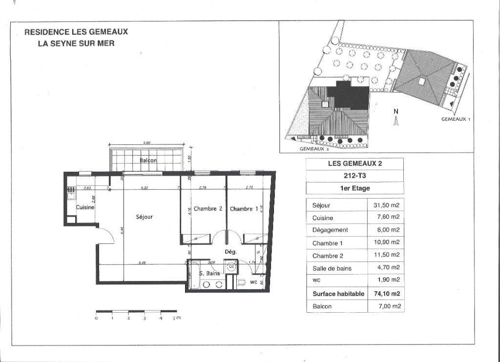 Appartement à vendre 3 74.1m2 à La Seyne-sur-Mer plan-1