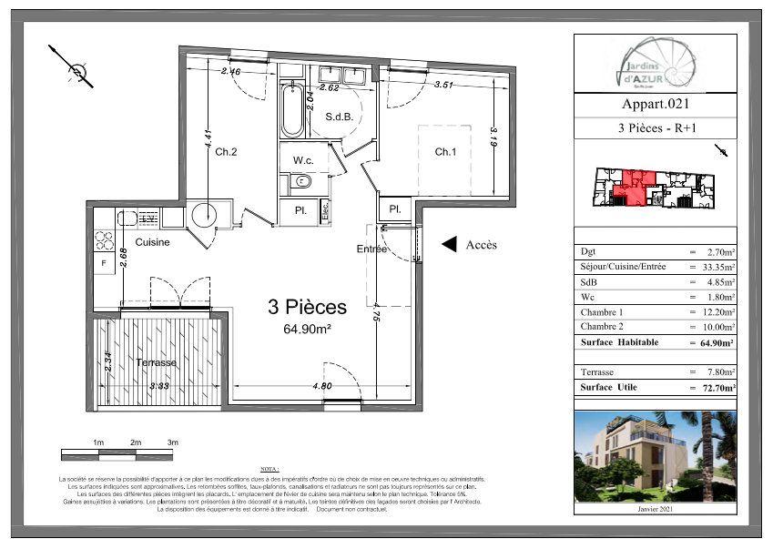 Appartement à vendre 3 64.9m2 à Golfe Juan - Vallauris vignette-3