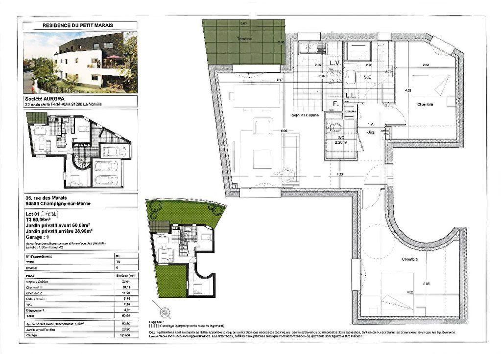 Appartement à vendre 3 69.06m2 à Champigny-sur-Marne vignette-1