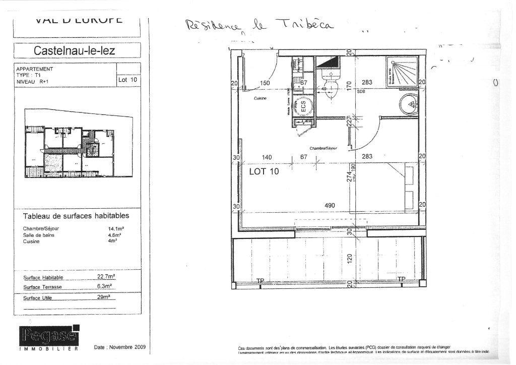 Appartement à vendre 1 22.5m2 à Castelnau-le-Lez plan-1