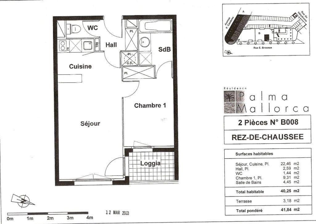 Appartement à vendre 2 38.9m2 à Perpignan plan-1