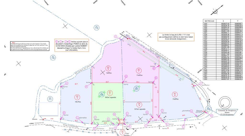 Terrain à vendre 0 902m2 à Ruoms plan-1