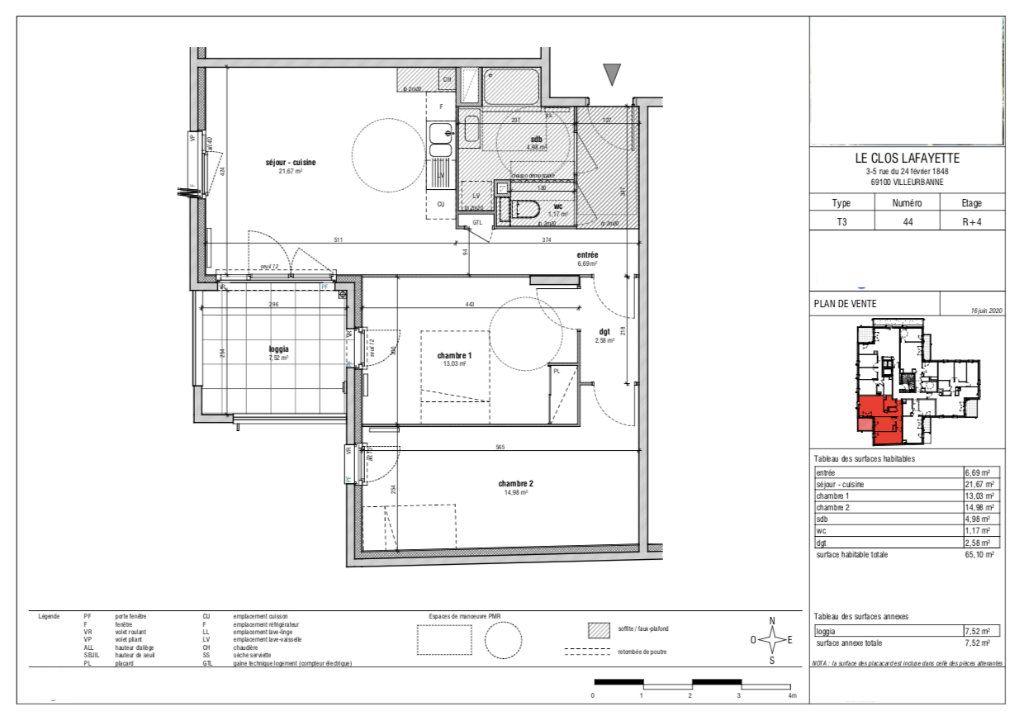 Appartement à vendre 3 65.24m2 à Villeurbanne vignette-1