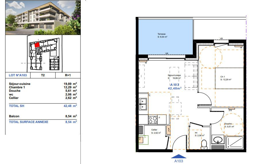 Appartement à vendre 2 42.57m2 à Saint-Paul-lès-Dax vignette-3