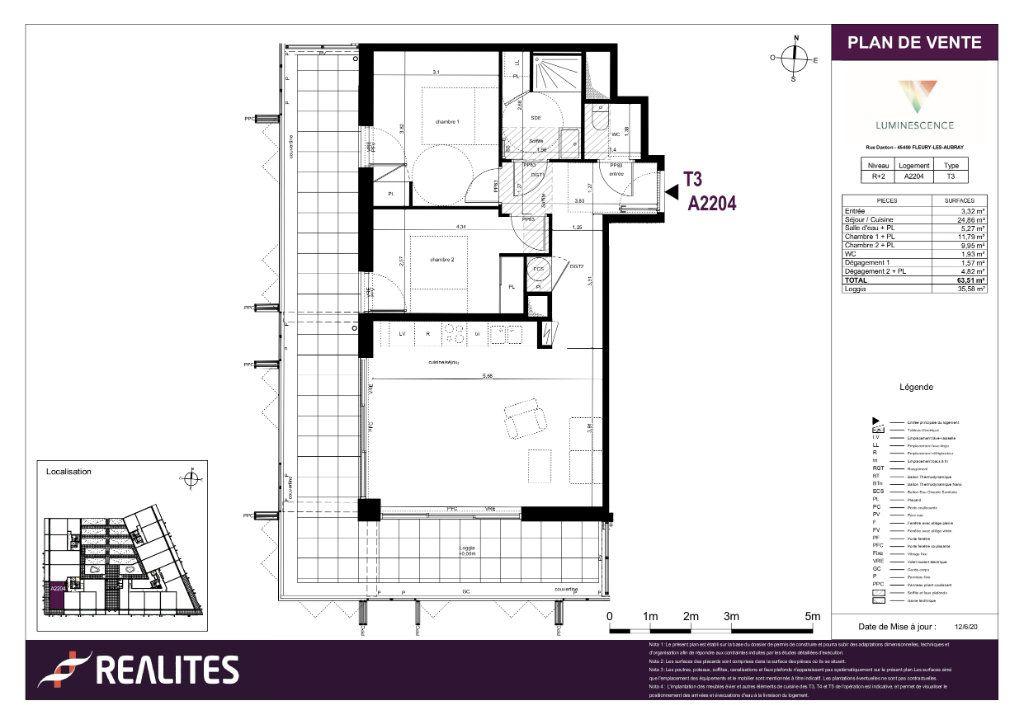 Appartement à vendre 3 63.51m2 à Fleury-les-Aubrais plan-1