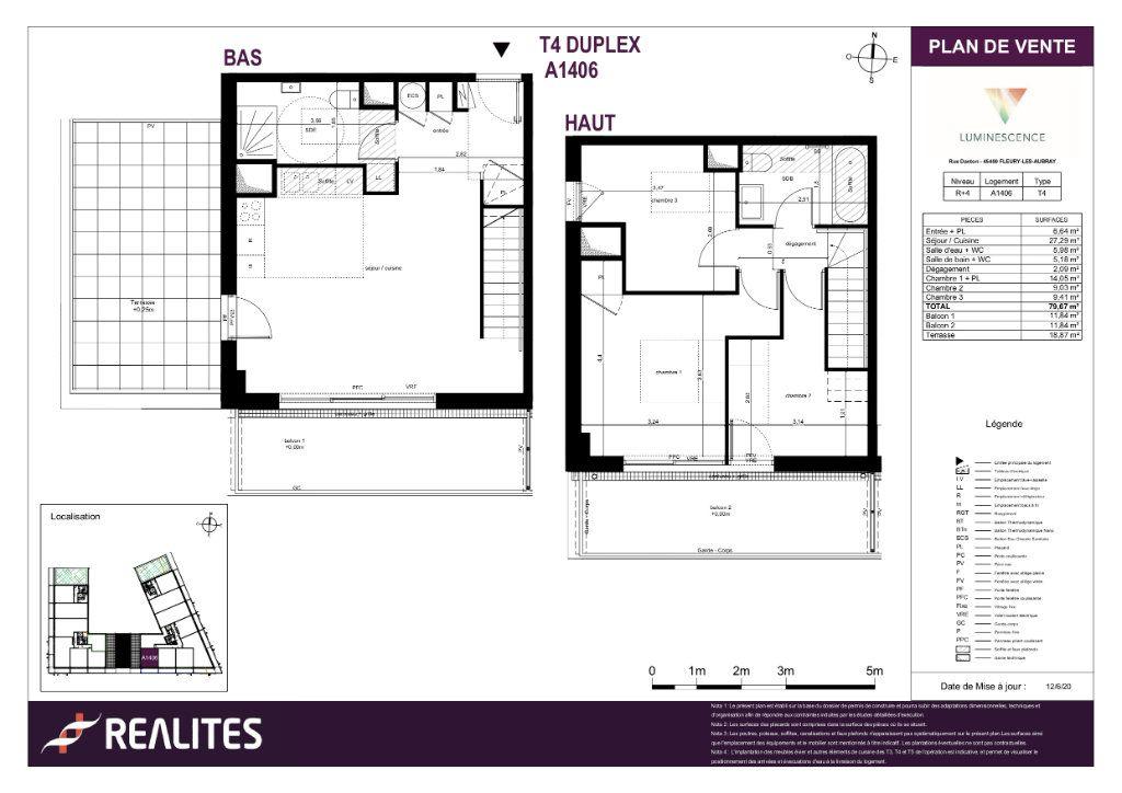 Appartement à vendre 4 79.67m2 à Fleury-les-Aubrais plan-1