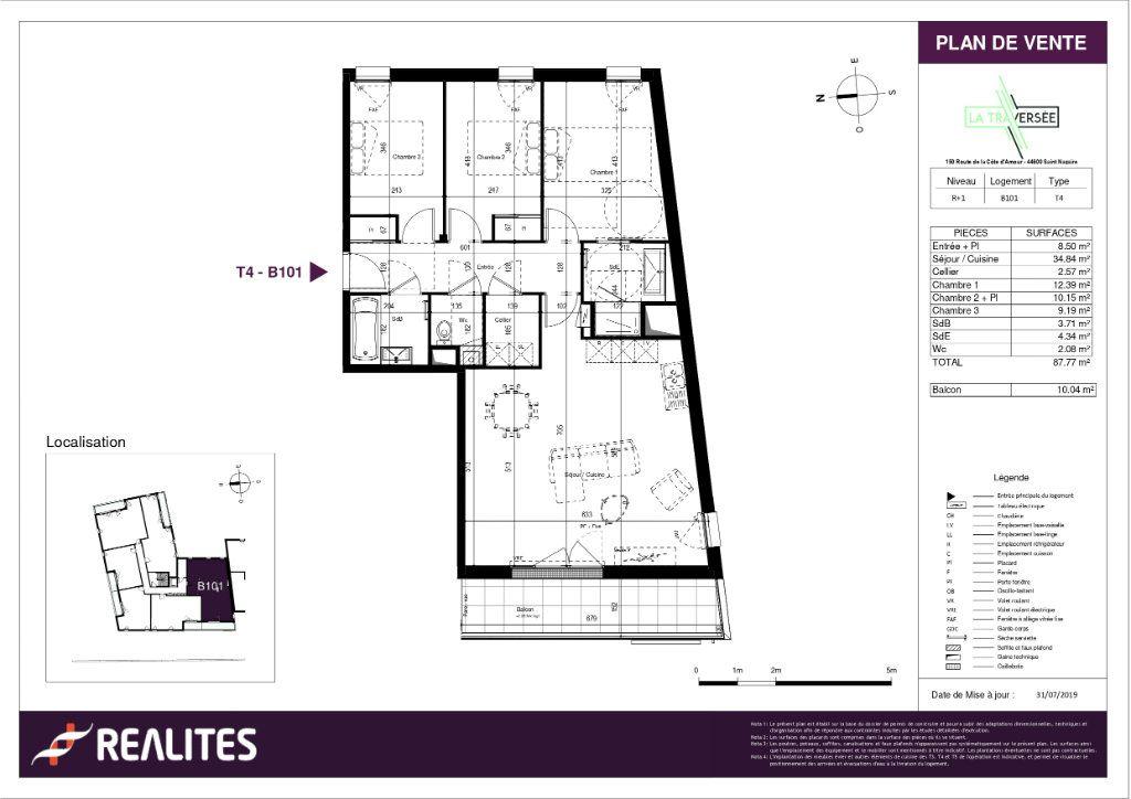 Appartement à vendre 4 87.77m2 à Saint-Nazaire plan-1