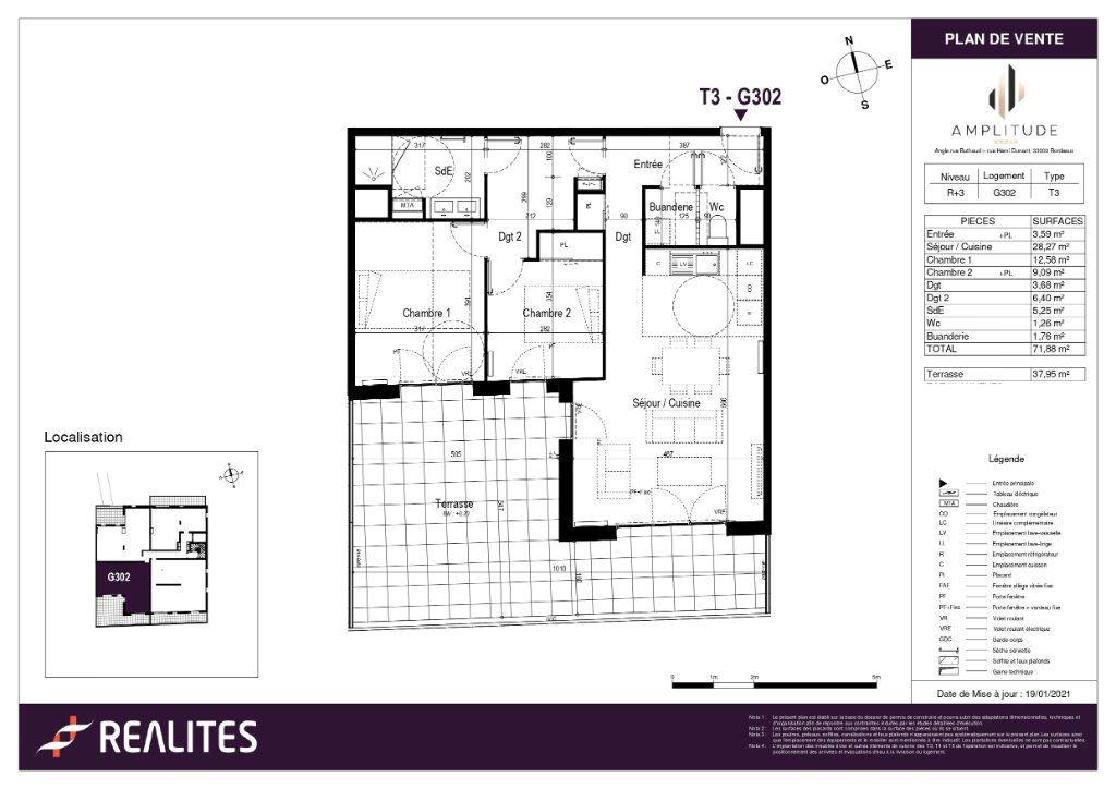 Appartement à vendre 3 58.51m2 à Bordeaux plan-1