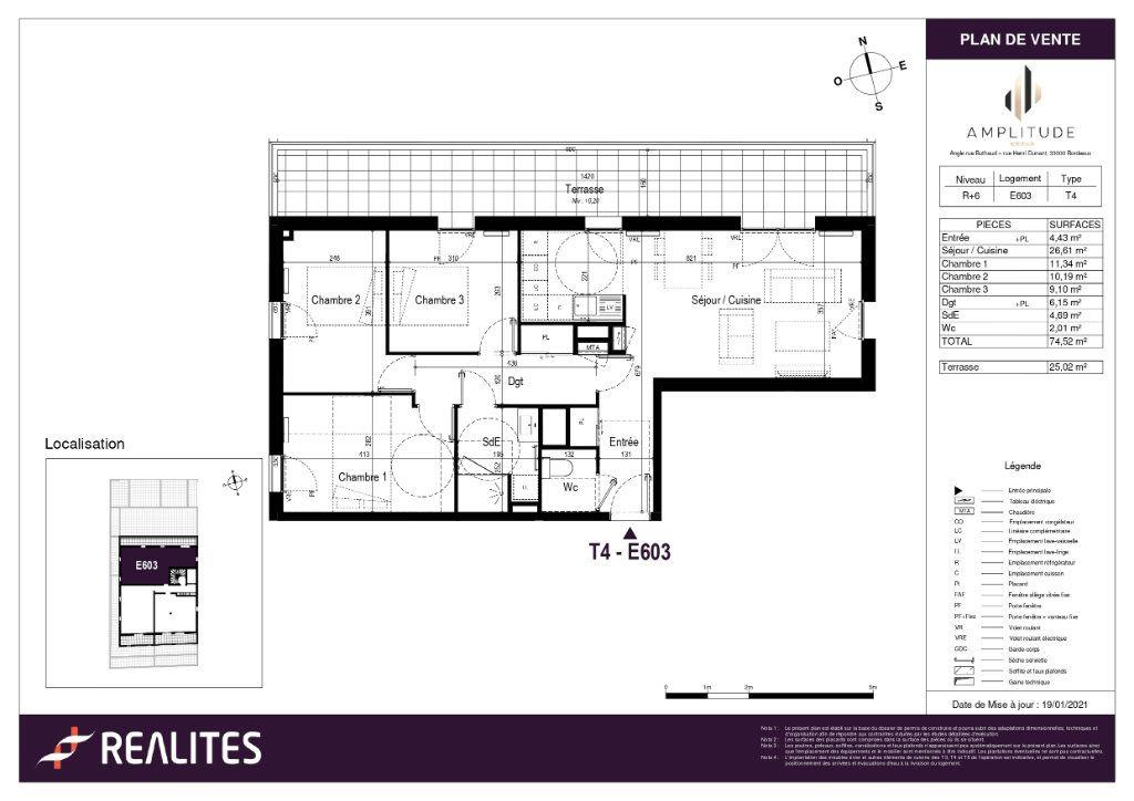 Appartement à vendre 4 75.52m2 à Bordeaux plan-1