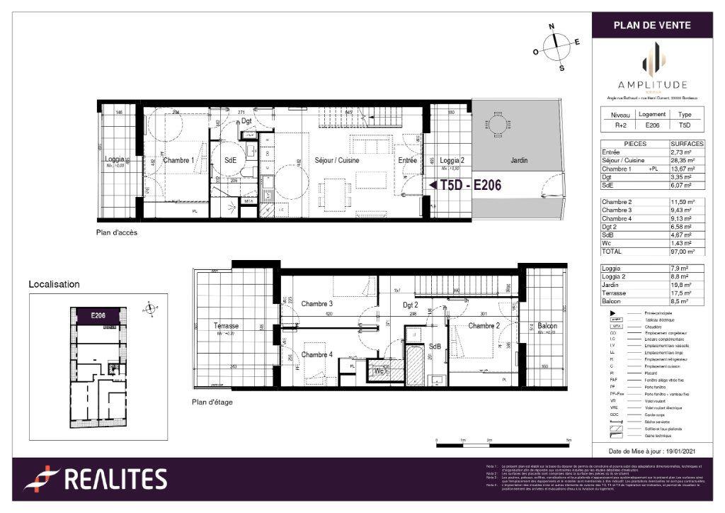 Appartement à vendre 5 97m2 à Bordeaux plan-1