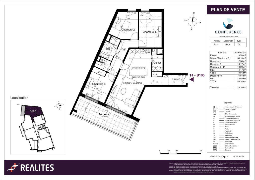 Appartement à vendre 4 83.34m2 à Le Mans plan-1
