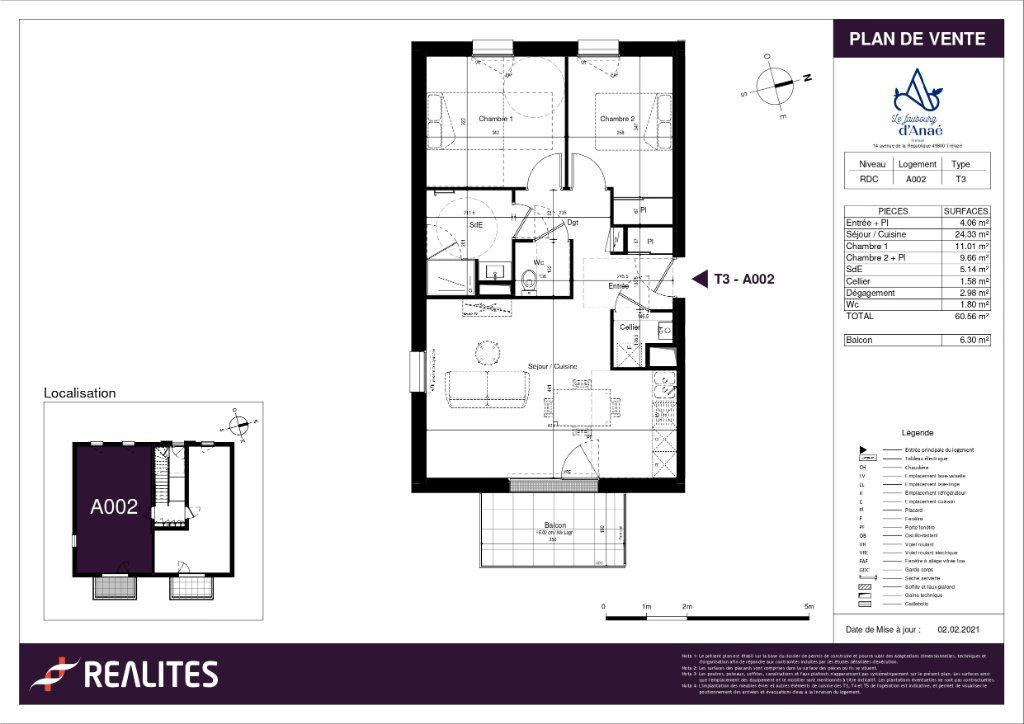 Appartement à vendre 3 60.56m2 à Trélazé plan-1