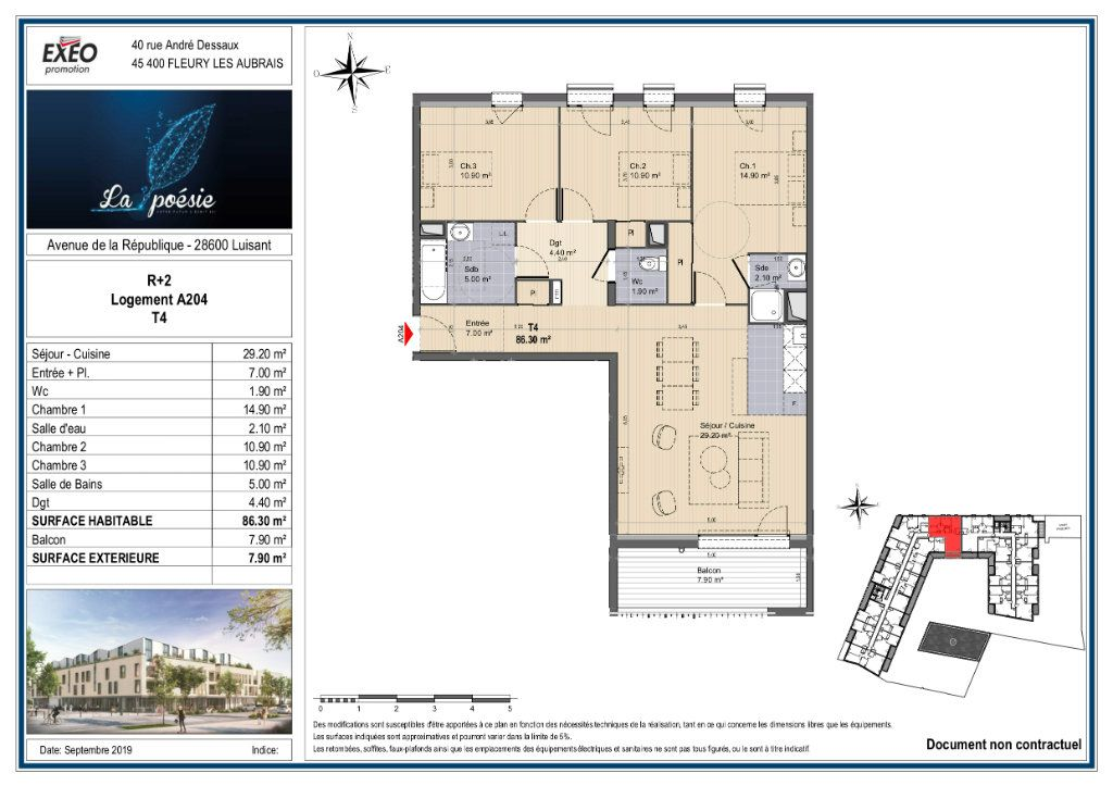 Appartement à vendre 4 86.3m2 à Luisant plan-1