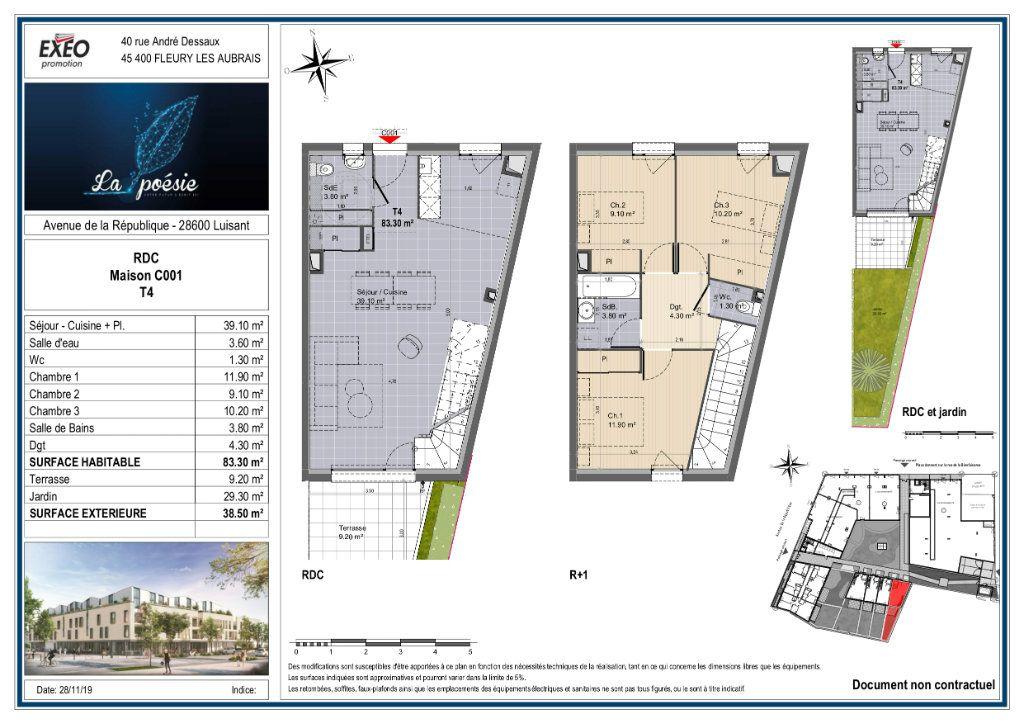 Maison à vendre 4 83.3m2 à Luisant plan-1
