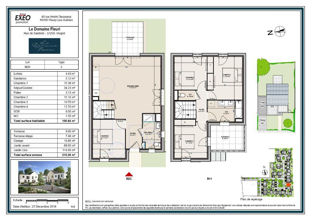 Maison à vendre 5 100.84m2 à Veigné plan-1