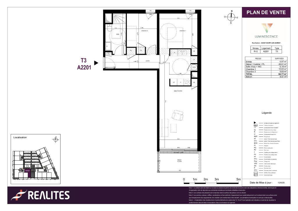 Appartement à vendre 3 64.77m2 à Fleury-les-Aubrais plan-1