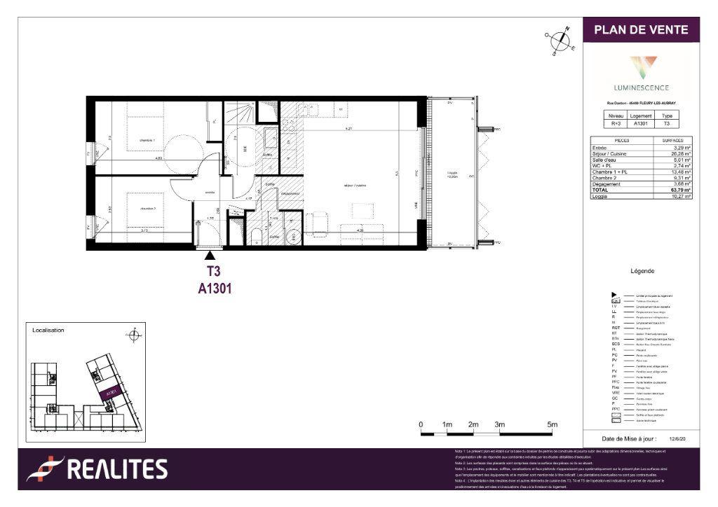 Appartement à vendre 3 63.79m2 à Fleury-les-Aubrais plan-1