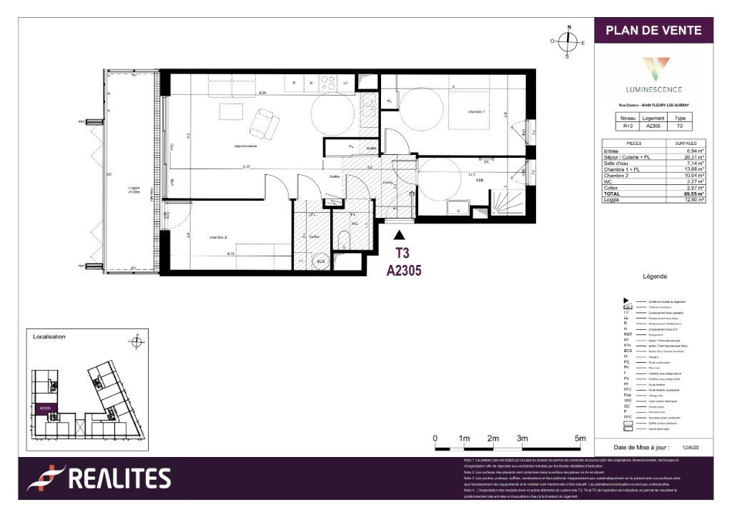 Appartement à vendre 3 69.55m2 à Fleury-les-Aubrais plan-1