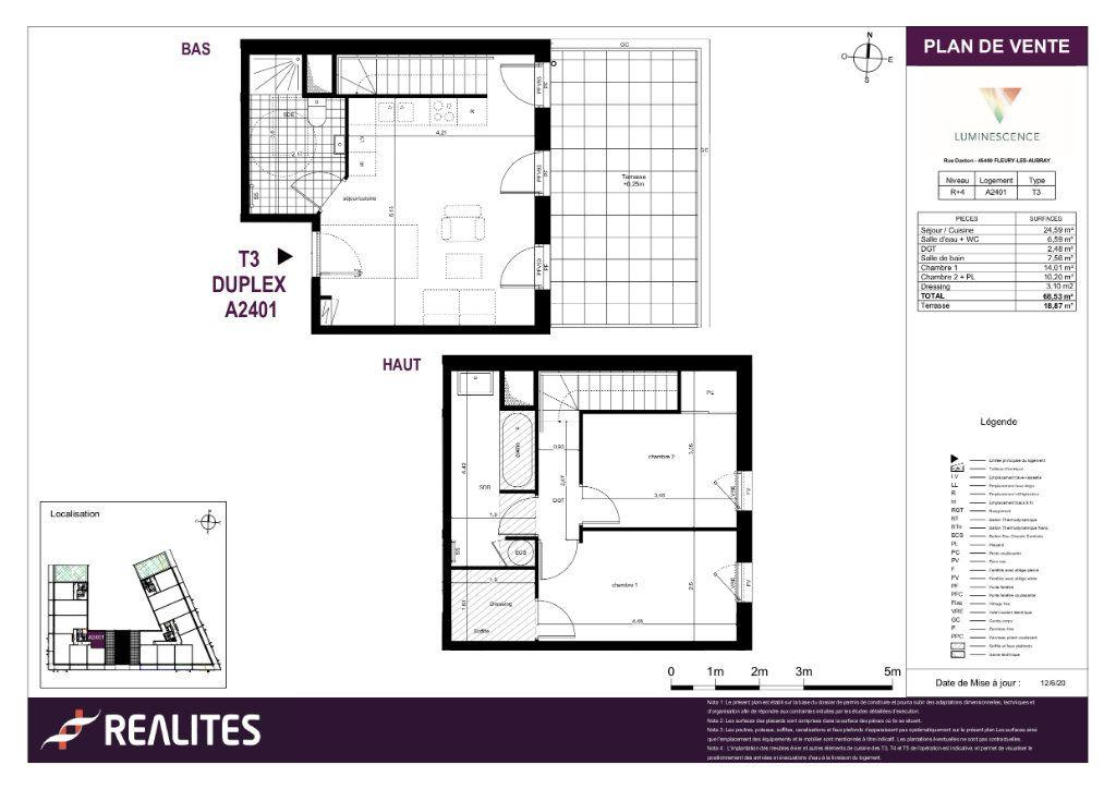 Appartement à vendre 3 68.53m2 à Fleury-les-Aubrais plan-1