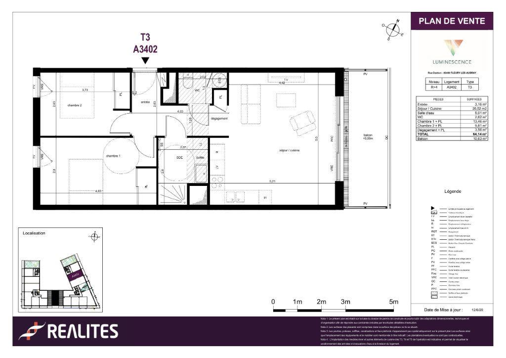 Appartement à vendre 3 64.14m2 à Fleury-les-Aubrais plan-1