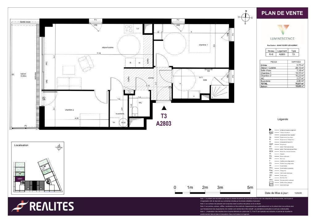 Appartement à vendre 3 70.07m2 à Fleury-les-Aubrais plan-1