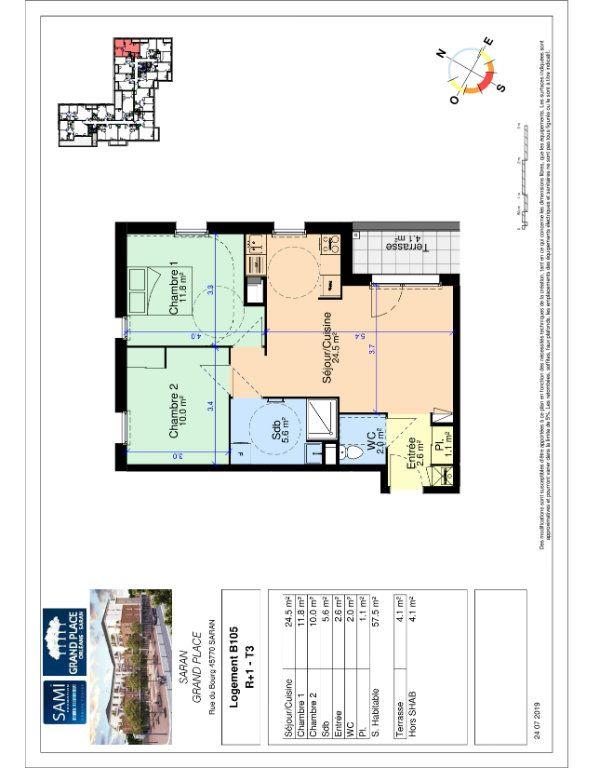 Appartement à vendre 57.5m2 à Saran