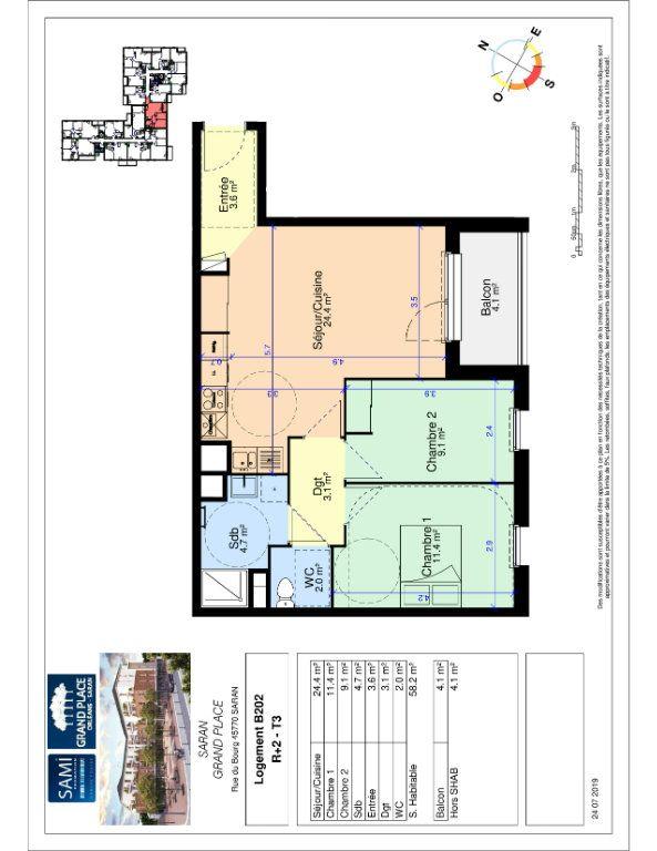 Appartement à vendre 58.2m2 à Saran