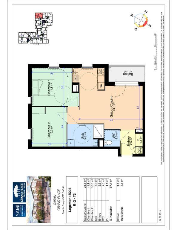 Appartement à vendre 57.4m2 à Saran
