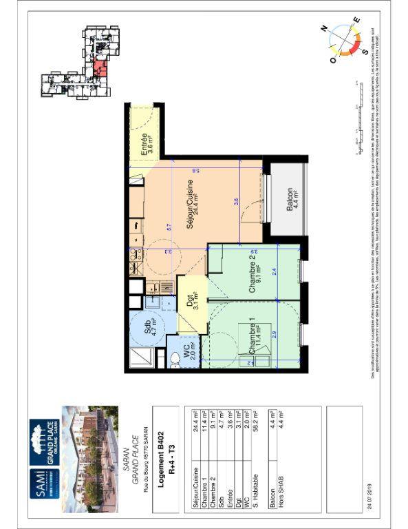 Appartement à vendre 3 58.2m2 à Saran plan-1