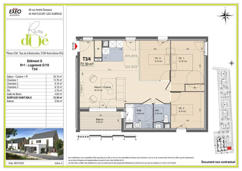 Appartement à vendre 72.3m2 à Notre-Dame-d'Oé