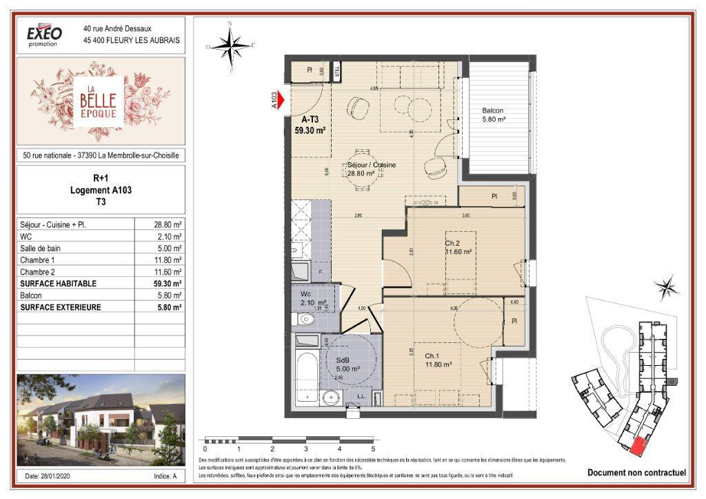 Appartement à vendre 59.3m2 à La Membrolle-sur-Choisille