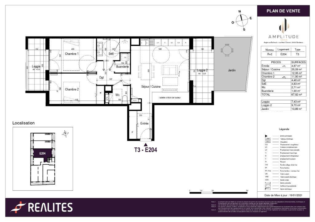 Appartement à vendre 3 67.82m2 à Bordeaux plan-1