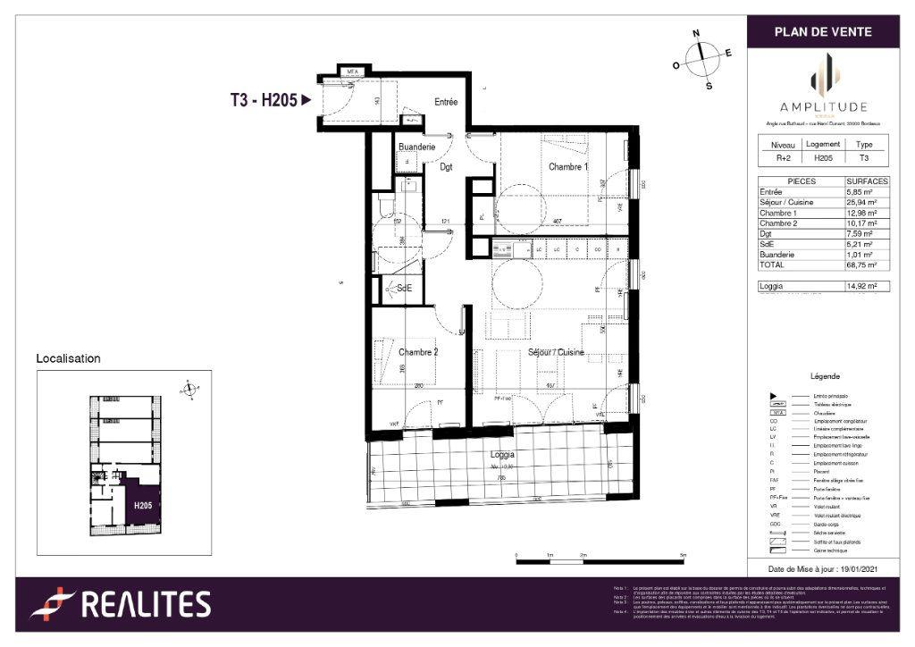 Appartement à vendre 68.75m2 à Bordeaux