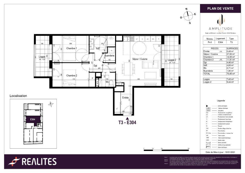 Appartement à vendre 70.85m2 à Bordeaux