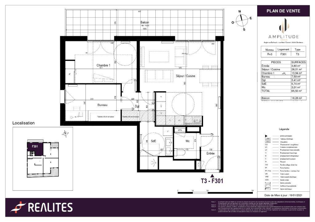 Appartement à vendre 65.5m2 à Bordeaux