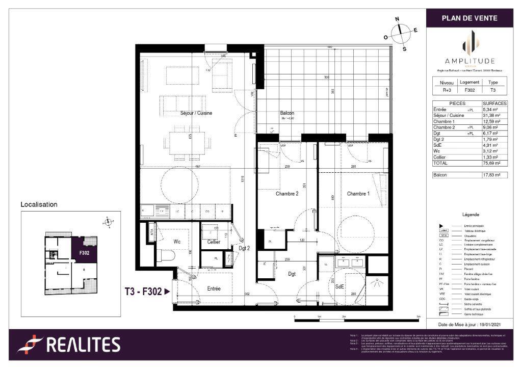 Appartement à vendre 75.69m2 à Bordeaux