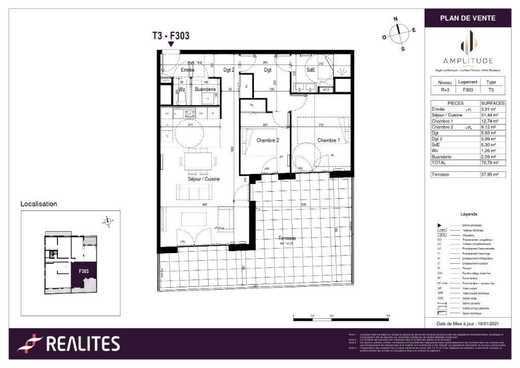 Appartement à vendre 75.78m2 à Bordeaux