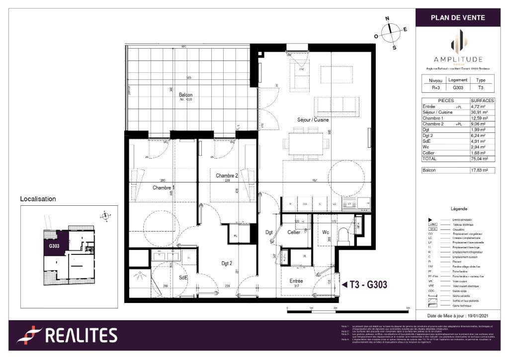 Appartement à vendre 75.04m2 à Bordeaux
