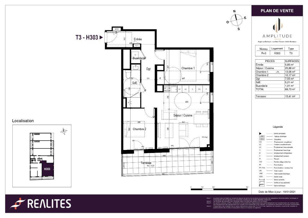 Appartement à vendre 68.73m2 à Bordeaux