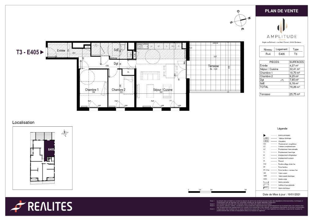 Appartement à vendre 70.26m2 à Bordeaux