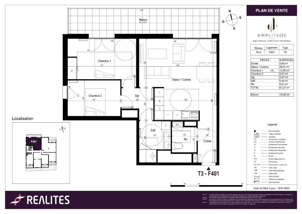Appartement à vendre 3 67.27m2 à Bordeaux plan-1