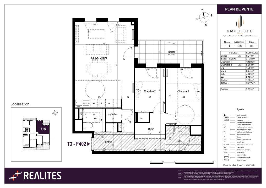 Appartement à vendre 75.77m2 à Bordeaux