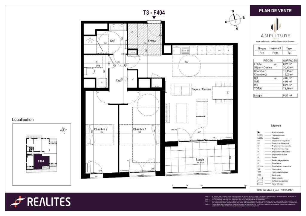 Appartement à vendre 78.96m2 à Bordeaux