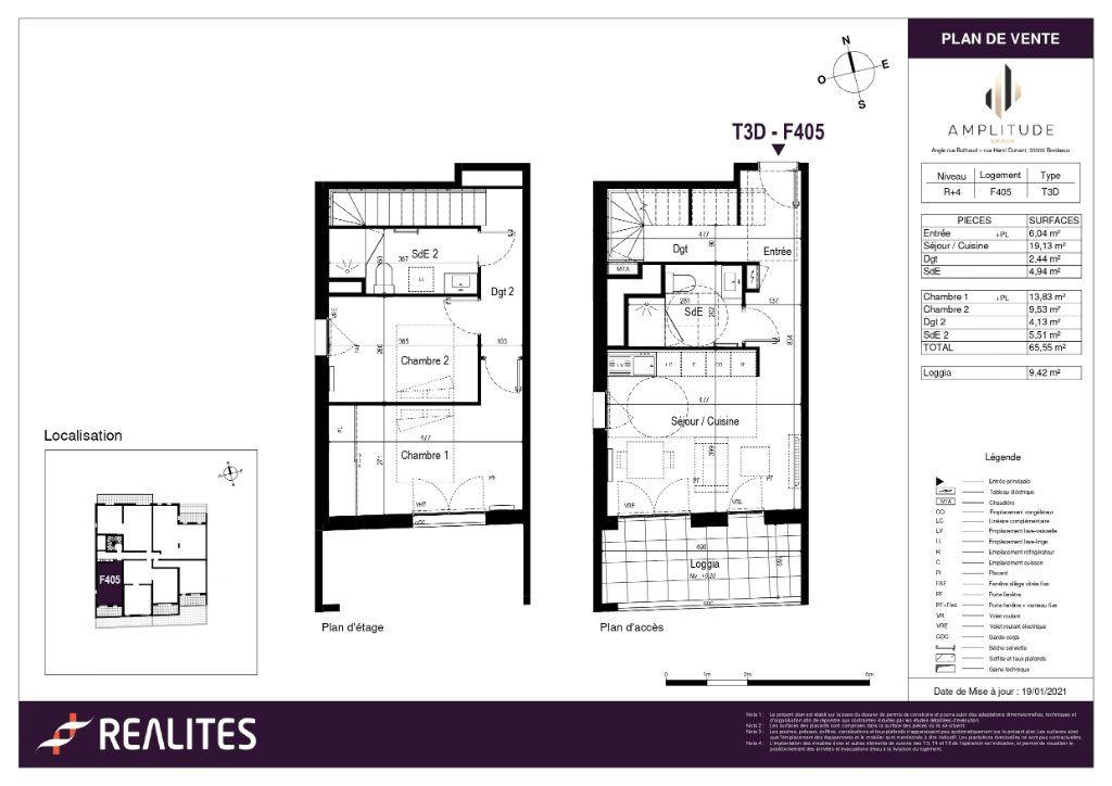 Appartement à vendre 65.55m2 à Bordeaux